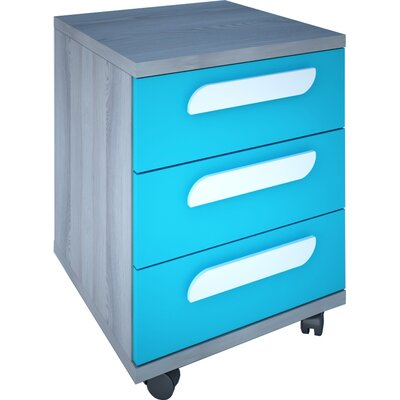 Duffin 3 Drawer Nightstand Color: Molina Oak/Blue
