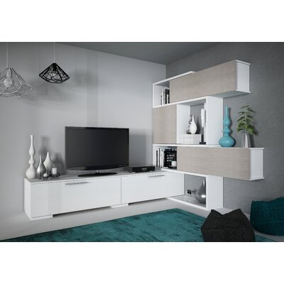 Maloy 150 Entertainment Center Color: White/Concrete