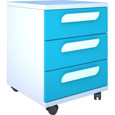 Duffin 3 Drawer Nightstand Color: White/Blue