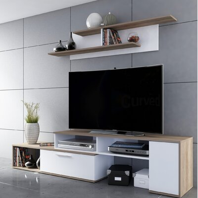 Dufrene 98.4 Entertainment Center Color: White/Nebraska