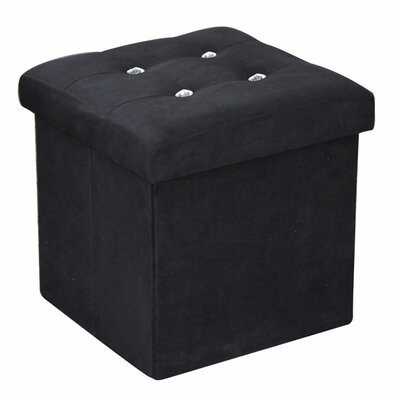 Ottoman with Stones Upholstery: Black