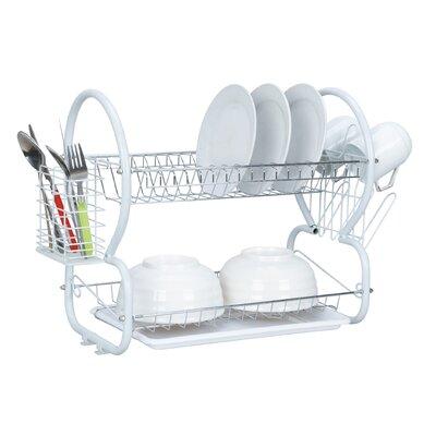 HOME BASICS 2 Tier Dish Drainer - Finish: White