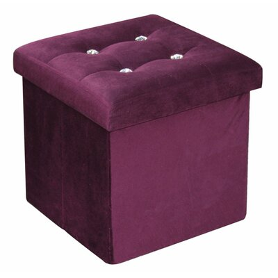 Ottoman with Stones Upholstery: Purple