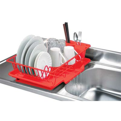 3 Piece Dish Rack with Tray Finish: Red