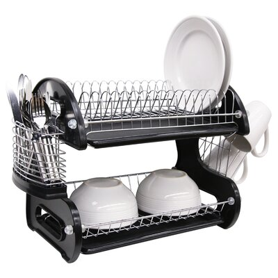 2 Tier Plastic Dish Drainer Finish: Black