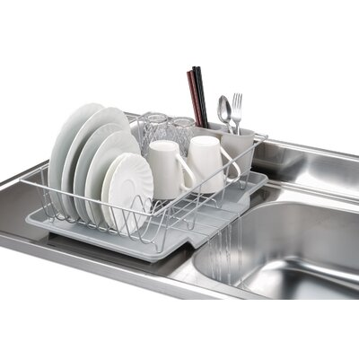 3 Piece Dish Rack with Tray Finish: Silver