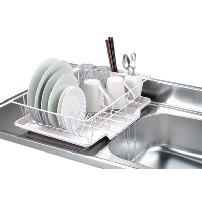 3 Piece Dish Rack with Tray Finish: White