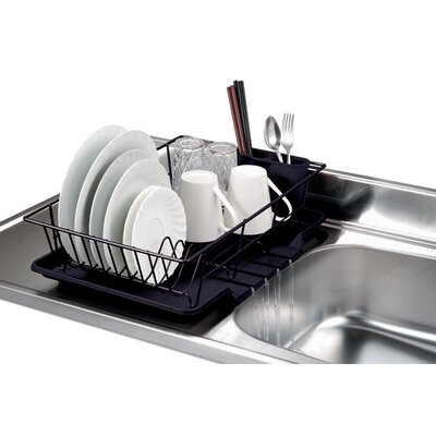3 Piece Dish Rack with Tray Finish: Black