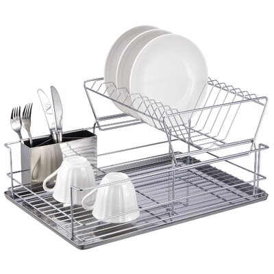 Home Basics 2 Tier Stainless Steel Dish Rack DR30245