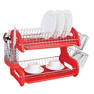 2 Tier Plastic Dish Drainer Finish: Red