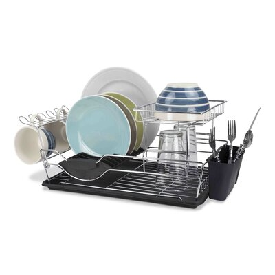 2 Tier Dish Rack Finish: Black
