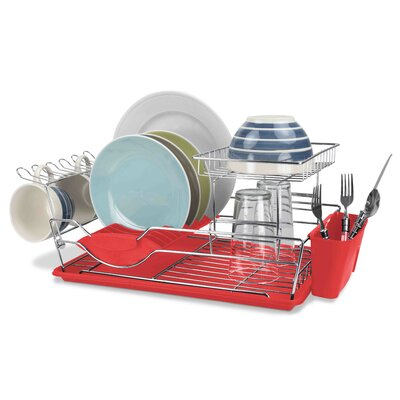 2 Tier Dish Rack Finish: Red
