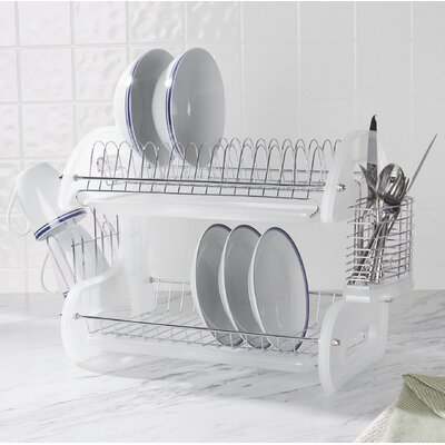 2 Tier Plastic Dish Drainer Finish: White