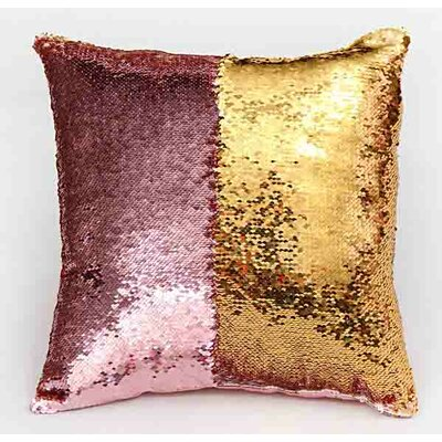 Reversible Mermaid Sequin Throw Pillow Color: Gold/Black