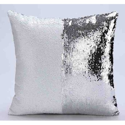 Reversible Mermaid Sequin Throw Pillow Color: White/Silver