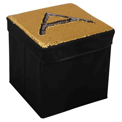 Mermaid Storage Ottoman Upholstery: Silver/Gold