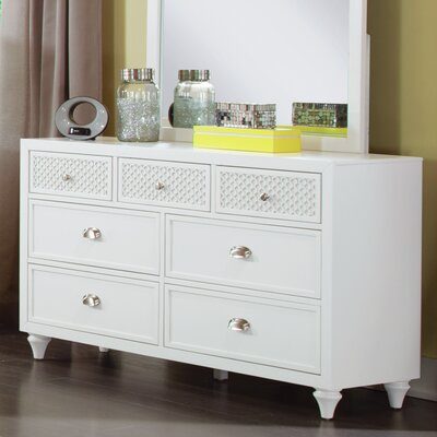 Amanda 7 Drawer Double Dresser Color: Bright White