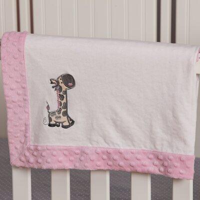 Giraffe Embroidered Minky Dot Blanket