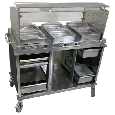 Furniture-Mobile Hot Cold Buffet Cart with Sneeze Guard Steam Pans Size 2.5 H, Color Black
