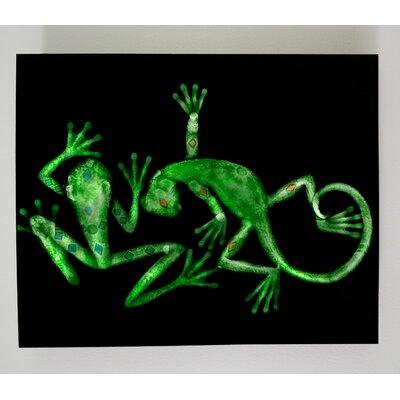 X-ray Designs Lizard and Frog Graphic Art Plaque art-lizfroggrn16x20