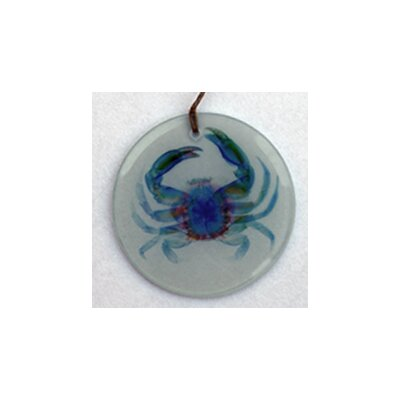 Multi Blue Crab Frosted Glass Ornament Orn208