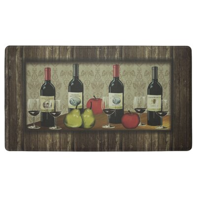 Sophisticated Wine Anti-Fatigue Cushioned Chef Kitchen Mat Rug Size: 18 X 30