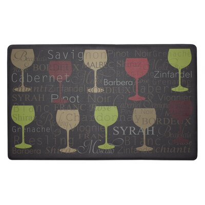 Wine Typography Anti-Fatigue Cushioned Chef Kitchen Mat Rug Size: 18 X 30