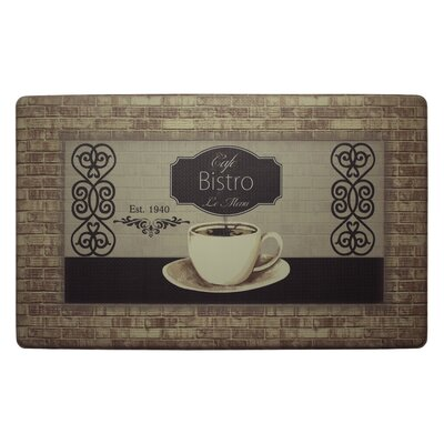 Caf� Bistro Kitchen Mat Rug Size: Rectangle 18 x 28