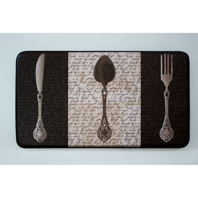 French Utensils Printed Anti-Fatigue Chef Kitchen Mat