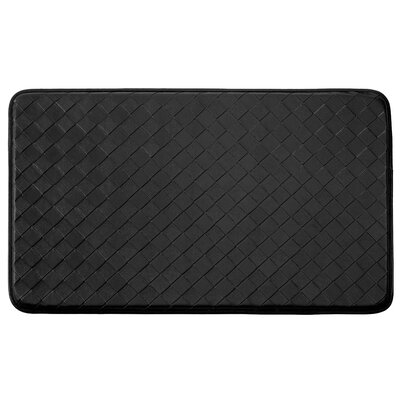 Anti-Fatigue Faux-Leather Kitchen Mat Rug Size: 18 x 28, Color: Black