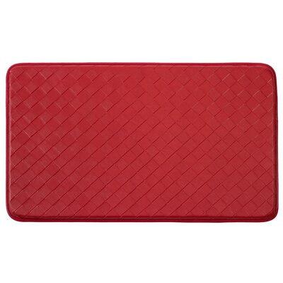 Anti-Fatigue Faux-Leather Kitchen Mat Rug Size: 2 x 3, Color: Red