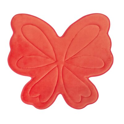 Butterfly Memory Foam Bath Mat Color: Coral