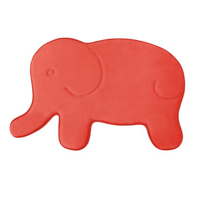 Elephant Memory Foam Bath Mat Color: Coral