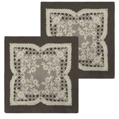 Caisey Lace and Embroidery Applique Pillow Cover Color: Charcoal