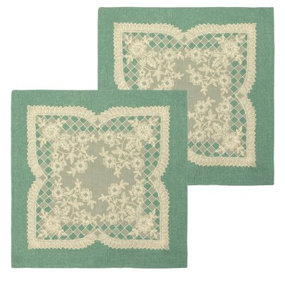 Caisey Lace and Embroidery Applique Pillow Cover Color: Teal
