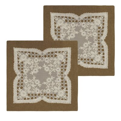 Caisey Lace and Embroidery Applique Pillow Cover Color: Natural