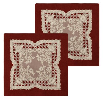 Caisey Lace and Embroidery Applique Pillow Cover Color: Burgundy