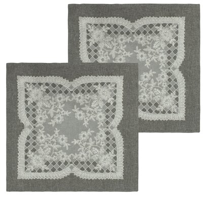 Caisey Lace and Embroidery Applique Pillow Cover Color: Grey