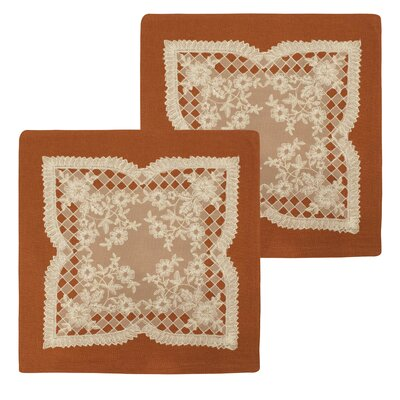 Caisey Lace and Embroidery Applique Pillow Cover Color: Rust