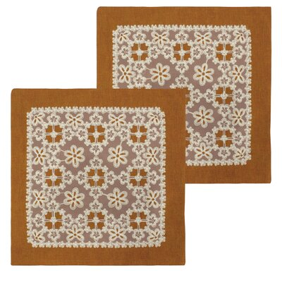 Cecilia Lace and Embroidery Applique Pillow Cover Color: Rust