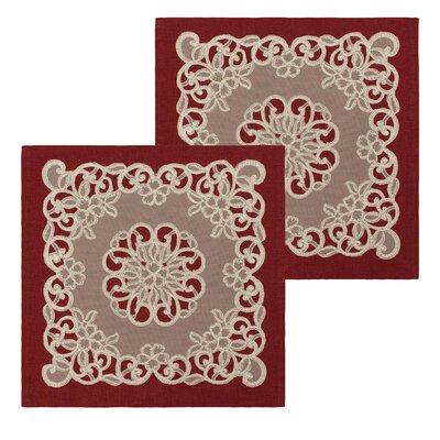 Emily Lace and Embroidery Applique Pillow Cover Color: Burgundy