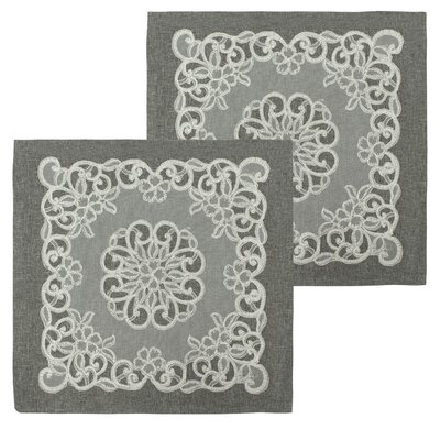 Emily Lace and Embroidery Applique Pillow Cover Color: Grey