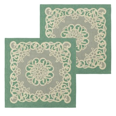 Emily Lace and Embroidery Applique Pillow Cover Color: Teal