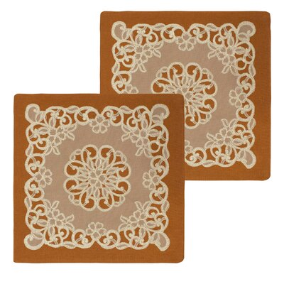 Emily Lace and Embroidery Applique Pillow Cover Color: Rust