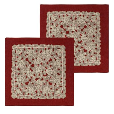 Gretta Lace And Embroidery Applique Pillow Cover Color: Burgundy