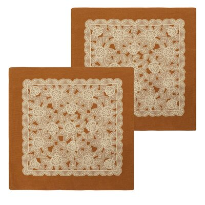 Gretta Lace and Embroidery Applique Pillow Cover Color: Rust