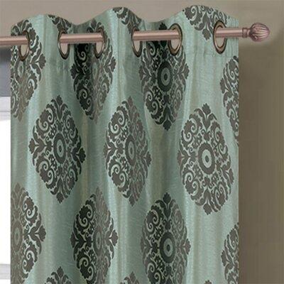Window Elements Suzani Flocked Faux Silk Grommet Curtain Panels (Set of 2) - Color: Aqua / Grey