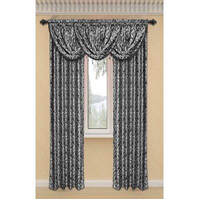 Window Elements Dawson Shimmering Leaf Rod Pocket Curtain Panel - Color: Black
