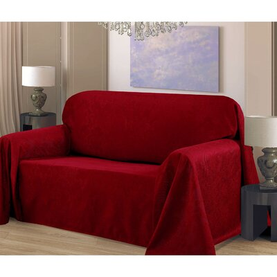 Medallion Box Cushion Sofa Slipcover Upholstery: Burgundy