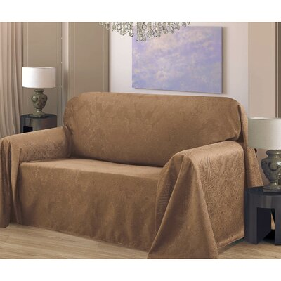 Medallion Box Cushion Sofa Slipcover Upholstery: Mocha